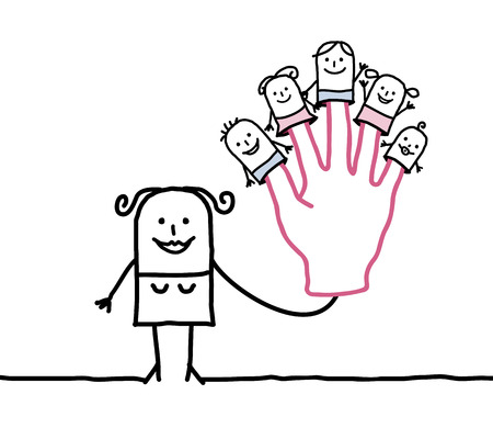 maternal: moter finger puppet cartoon with kids Stock Photo