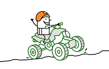 quad: cartoon man riding a quad