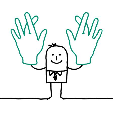 fingers crossed: cartoon businessman crossing his fingers
