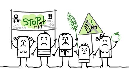 cartoon group of people protesting against  toxic agriculture industry Stock Photo