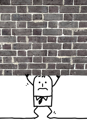 cartoon man crushed and standing under a wall Banco de Imagens