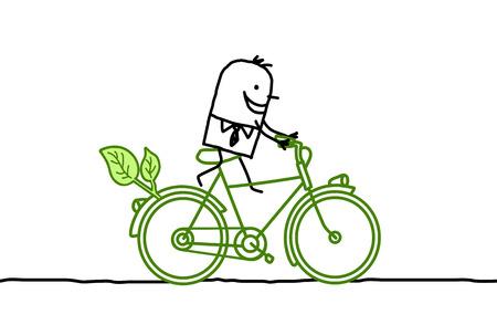 locomotion: cartoon man riding a green bicycle Stock Photo