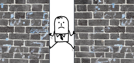 a cartoon man  squeezed between two walls Stock Photo