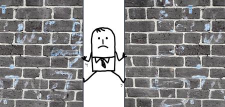 between: a cartoon man  squeezed between two walls Stock Photo