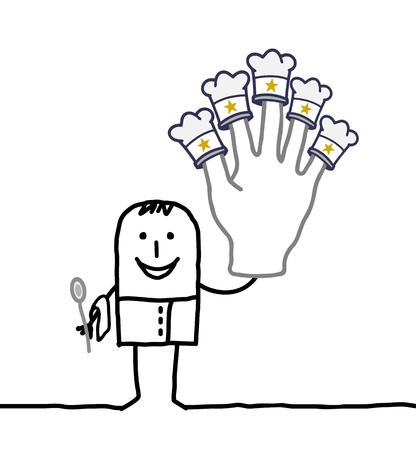 kitchen cartoon: caricatura de cocina cocinar con mano grande