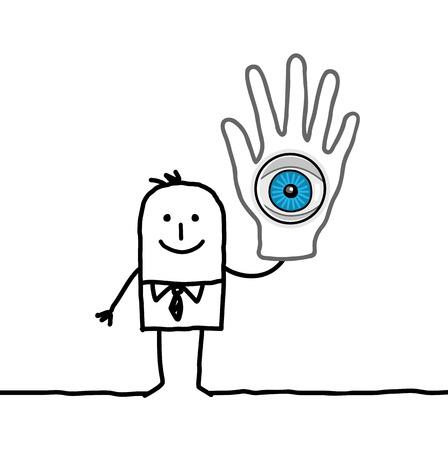 lucid: cartoon businessman with big hand  eye