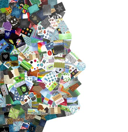 photo people: Man collage made with a lot of small pictures Stock Photo