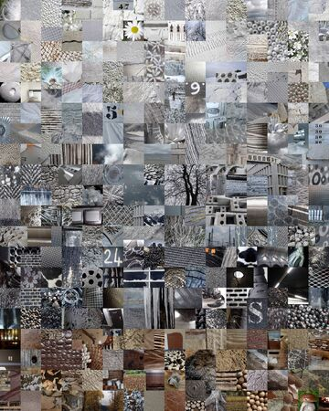 photo montage: GREY patchwork collage made of small pictures Stock Photo