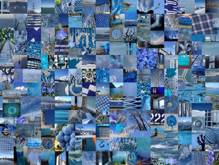 photo montage: BLUE patchwork collage made of small pictures