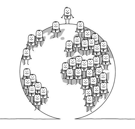cartoon business people on Earth Stock Photo