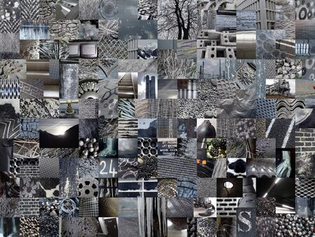 greyish: DARK GREY patchwork collage made of small pictures