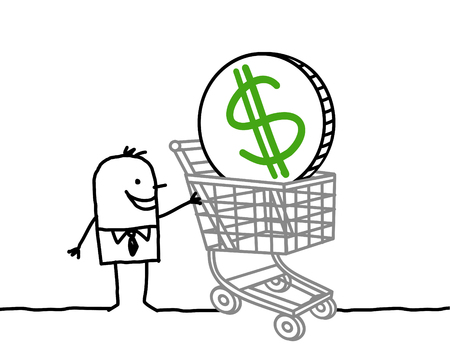 cartoon businessman with big cart and dollar Stok Fotoğraf