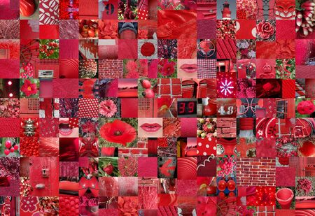 photo montage: RED patchwork collage made of small pictures