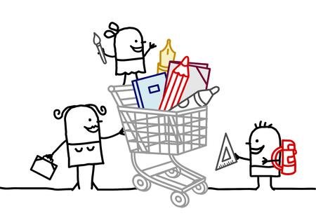 niños de compras: mujer de dibujos animados y los niños con gran carro y cosas de la escuela