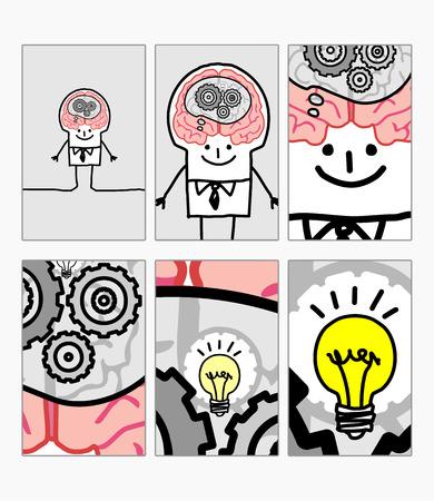 inovation: zoom inside cartoon clever mans head