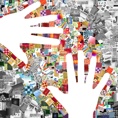 multitude: Collage hands made with a lot of small pictures