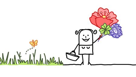picking: cartoon woman and flowers picking Stock Photo