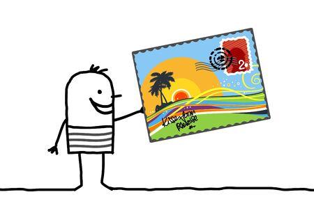 postcard: cartoon man and summer postcard Stock Photo