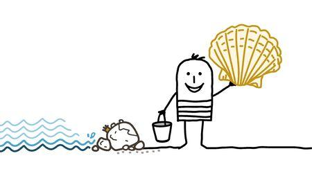 picking: cartoon man and shells picking