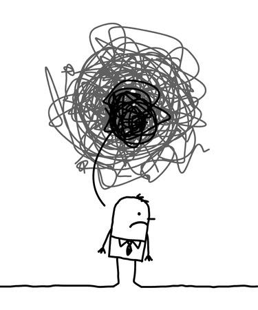 depressieve man met doodle zwart teken