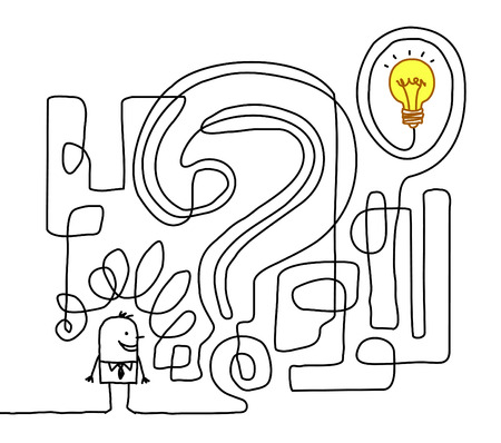 man finding the solution in a maze Banque d'images