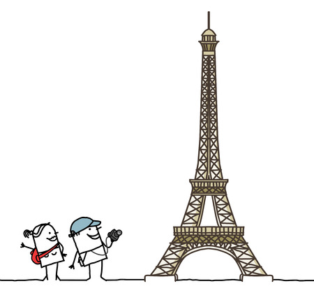 paris france: cartoon couple with Eiffel Tower Stock Photo