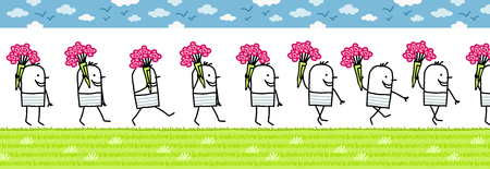 walking man with bunch of flowers