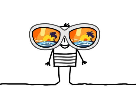 cartoon summer: cartoon man with big sunglasses Stock Photo