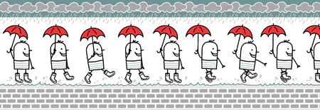 rain boots: hombre caminando con paraguas y botas de lluvia