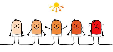 be careful: cartoon man & sunbathing Stock Photo