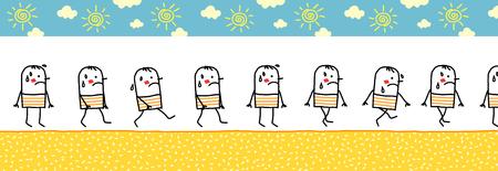 insolación: caminando caliente y sudando hombre