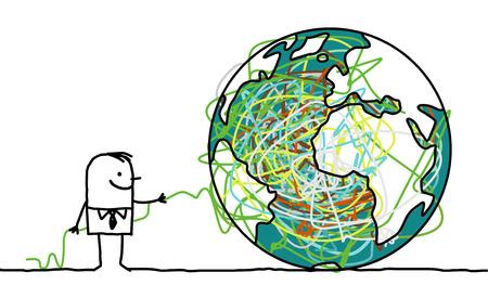 untangle: man untangling the earth Stock Photo