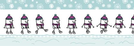 walking man with wool hat & scarf