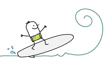cartoon man surfing on the wave Stok Fotoğraf