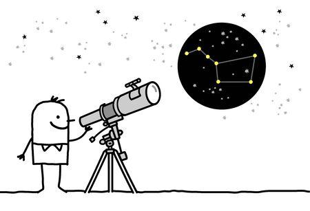망원경으로 별을보고있는 남자