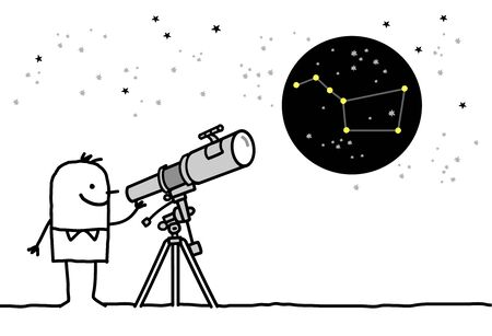 man watching the stars with telescope