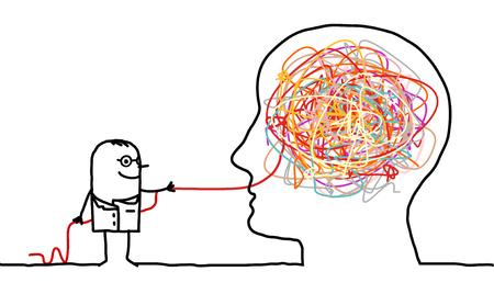 medico caricatura: médico desenredar un nudo cerebral