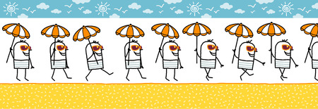 sun glasses: walking man with parasol & sun glasses