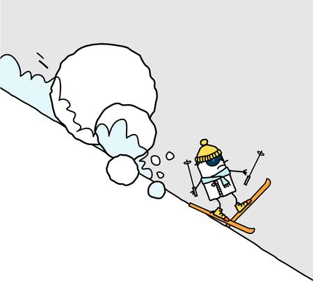 cartoon skier & avalanche