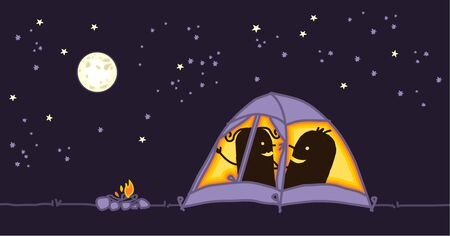 adventurers: couple in a camping tent by night