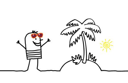 cartoon summer: cartoon man and palm tree island