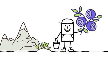 cartoon man en bosbessen plukken Stockfoto