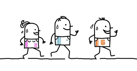footing: three running cartoon people