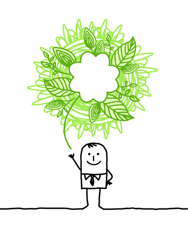 ecologic man with doodle green sign Stock Photo