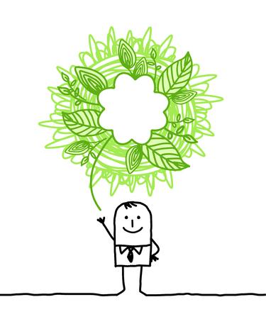 ecologic: ecologic man with doodle green sign Stock Photo