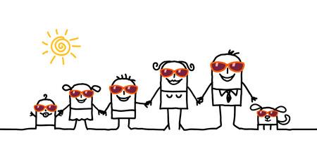 family holiday: cartoon Summer Family Stock Photo