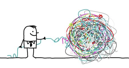 untangle: man untangling a knot Stock Photo