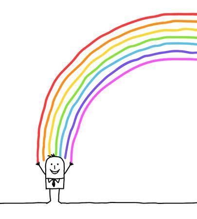 zakenman en kleuren van de regenboog