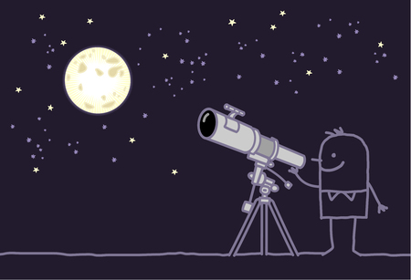 man on the moon: man watching the moon with telescope