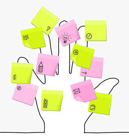 sticky notes: hand drawing with sticky notes Stock Photo